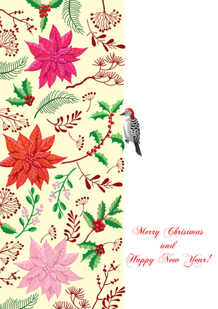 Christmas decoration with Bird and Poinsettia. Hand drawn sketches. Vector Illustration Imagens - 127076073