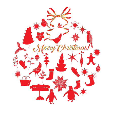 Christmas Background with Poinsettia Flowers and Toys. Hand drawn sketches. Vector Illustration
