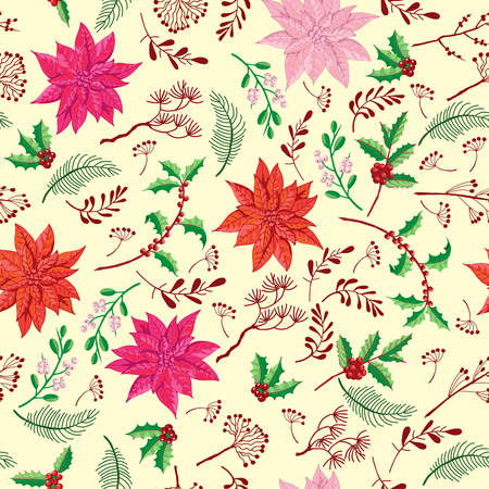 Seamless Pattern Christmas Decoration with Poinsettia. Hand drawn sketches. Vector Illustration