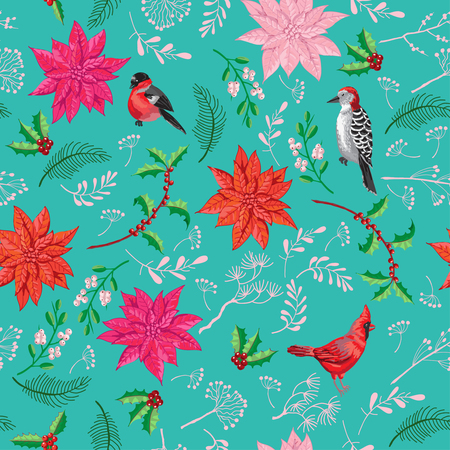Seamless Pattern Christmas Decoration with Bird and Poinsettia. Hand drawn sketches. Vector Illustration Ilustração