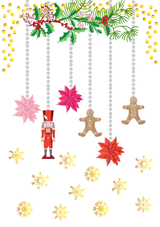 Christmas Poster Decorations with Toys. Vector Illustration Imagens - 127046855