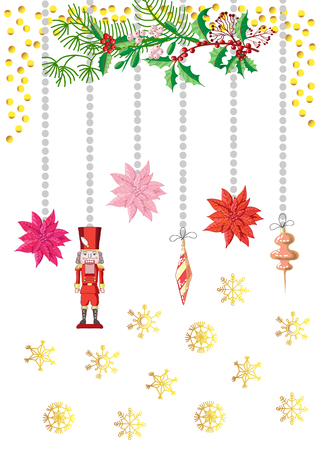Christmas Poster Decorations with Toys.Vector Illustration