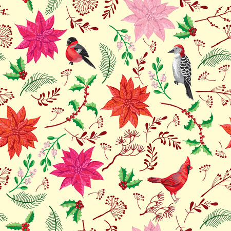 Seamless Pattern Christmas Decoration with Bird and Poinsettia. Hand drawn sketches. Vector Illustration Imagens - 127046857