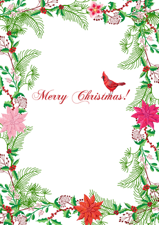 Christmas Poster with Bird and Poinsettia. Hand drawn sketches. Vector Illustration Ilustração