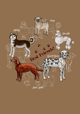 Poster Dogs sketches Background. Dogs of different breeds