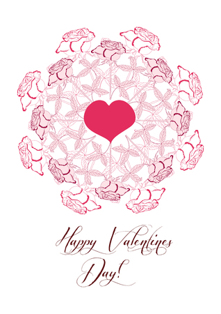 Valentines printable poster with flowers. Hand drawn elements with heart and flowers. Vector Illustration.