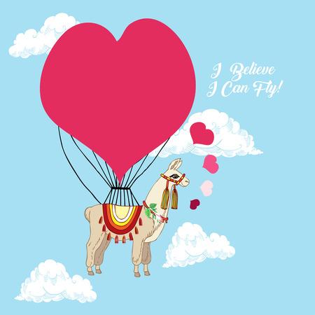 Llamas with pink heart. Hand drawn animals sketches. Vector Illustration