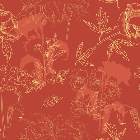 Seamless Pattern with Flowers Sketches