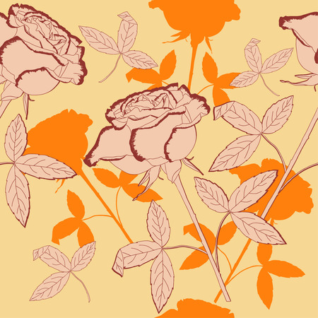Seamless pattern with roses flowers. Vector floral illustration