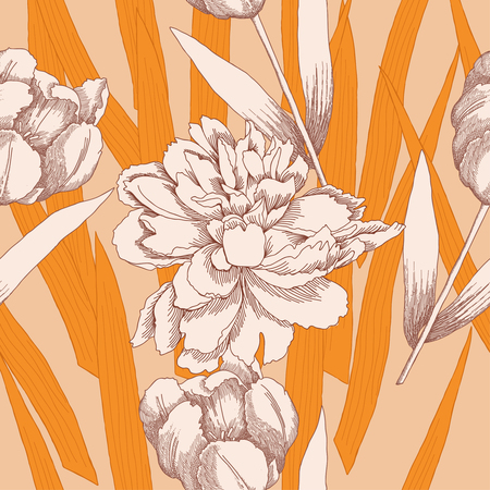 Seamless pattern with peonies and tulips flowers. Vector floral illustration