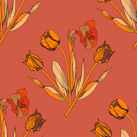 Seamless pattern with amaryllis and tulips. Vector Illustration