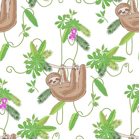 Seamless Pattern with Sloth in Jungle. Animal and Plants sketches. Hand Drawn Background. Vector Illustration