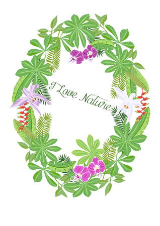Jungle Flowers. Floral and Plants sketches. Hand Drawn Elements. Vector Illustration Ilustracja