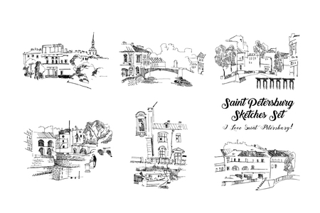Saint Petersburg  Sketches Set.Hand Drawn Streets and  Cityscape.