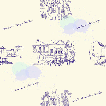 Seamless pattern with Saint Petersburg  Sketches