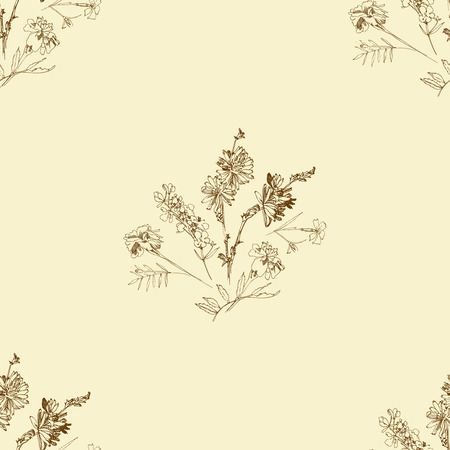 Seamless pattern with Wild Flowers with Summer Botanical Sketches Stock Illustratie