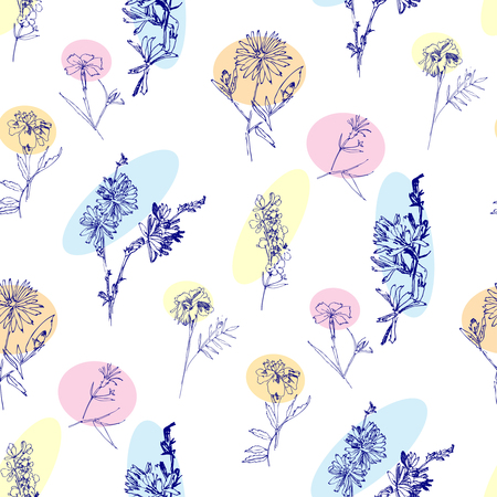 Seamless pattern with Wild Flowers with Summer Botanical Sketches Ilustração