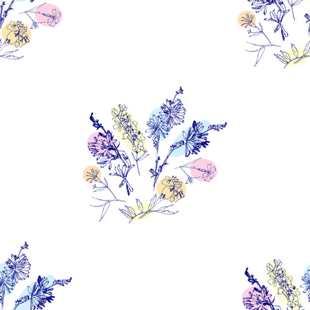 Seamless pattern with Wild Flowers with Summer Botanical Sketches.  Vector Illustration