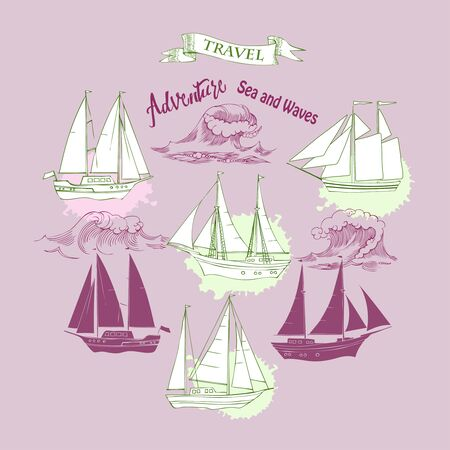 Sea background with waves and ships.Hand drawn elements for summer holidays Stock Illustratie