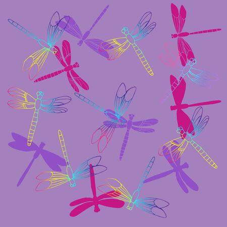 Background with  Dragonflies.  Hand drawn sketches. Vector Illustration Stock Illustratie