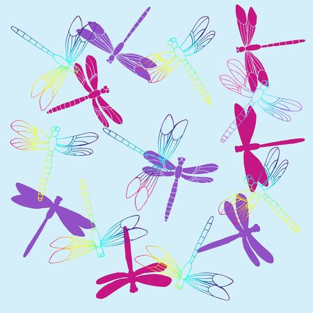Background with  Dragonflies.  Hand drawn sketches. Vector Illustration Ilustração