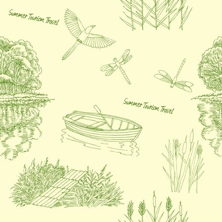 Seamless pattern with  with boat and trees. Lake, summer vacation outdoor, adventure travel.