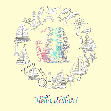 Nautical background with sailing vessels and wheel, seahorse,  dolphin and sea knots Ilustração