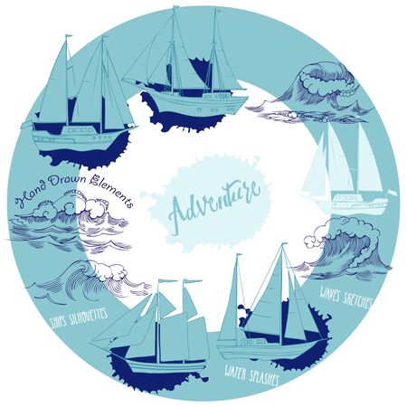 Sea background with waves and ships.Hand drawn elements for summer holidays.Travel, marin and ocean Stock Illustratie