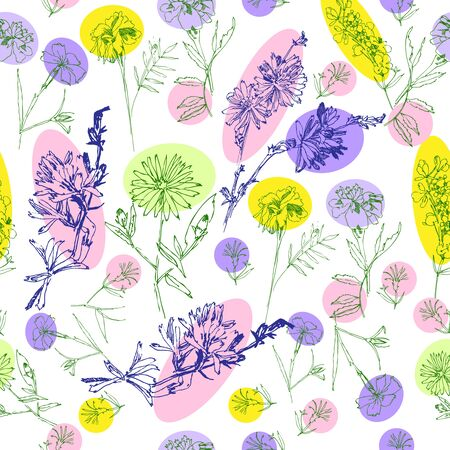 Seamless Pattern with Wild Flowers Sketches. Botanical Hand Drawn  Illustration Stock Illustratie
