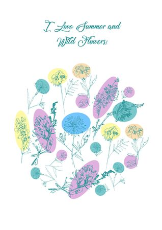 Floral Poster with Wild Flowers Sketches. Botanical Hand Drawn   Illustration Stock Illustratie