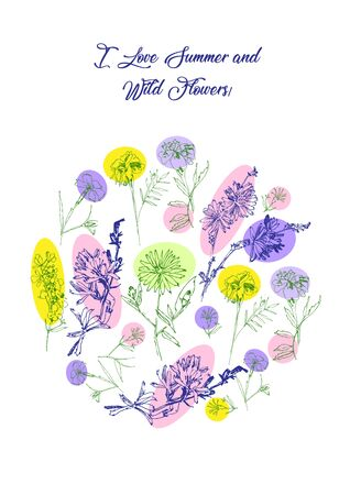 Floral Poster with Wild Flowers Sketches. Botanical Hand Drawn Digital  Illustration