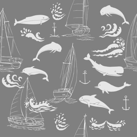 Nautica seamless pattern with ships, yachts, sea animals, dolphin and sea knots.