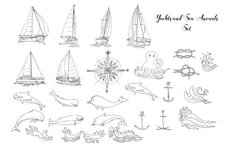 Nautical background with ships, yachts, sea animals, dolphin and sea knots. Vector Illustration Stock Illustratie