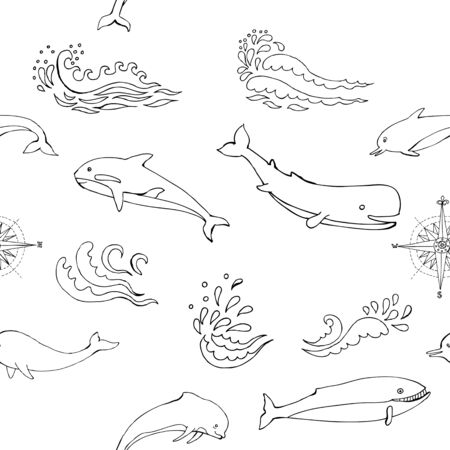 Nautical seamless pattern with sea animals and waves. Hand drawn elements for summer holidays.Travel, Marin and ocean. Stock Illustratie
