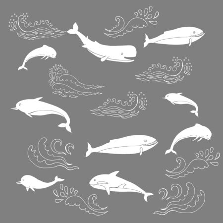 Nautical seamless pattern with sea animals and waves. Hand drawn elements for summer holidays.Travel, marin and ocean.