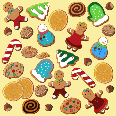Set of illustrations on the theme of Christmas. A set of Christmas colorful gingerbread cookies, dried oranges, walnuts and hazelnuts scattered randomly over a light yellow background.