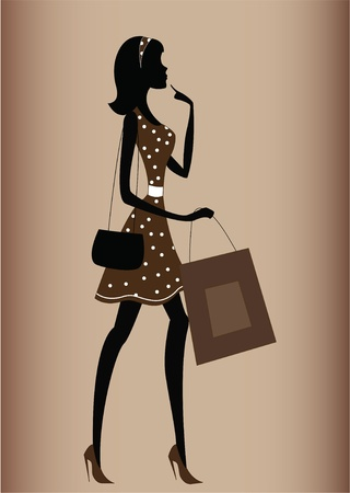 silhouette of a woman. shopping, vintage style  Vector