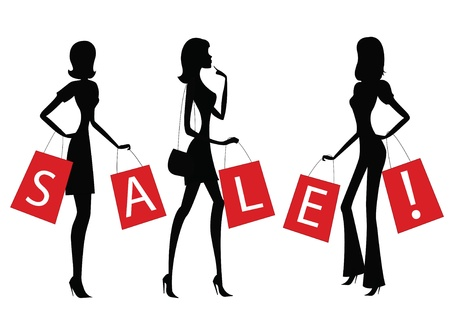 holiday shopping: women shopping with word SALE on their bags.  Illustration