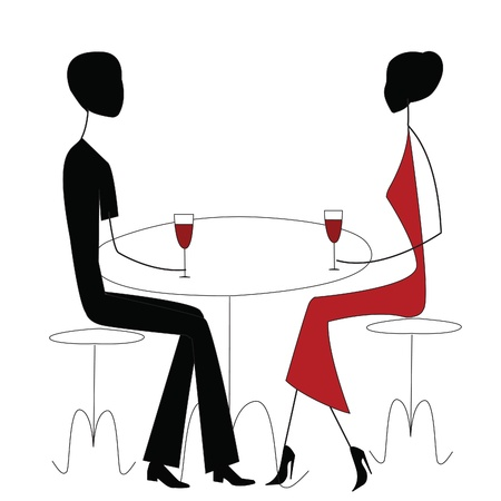 two men talking: man and woman in a restaurant  Illustration