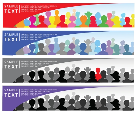 Set of banners with crowd and place for text Stock Vector - 10274659