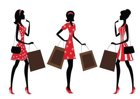 fashion shopping: Tres siluetas de mujeres de compras, estilo vintage
