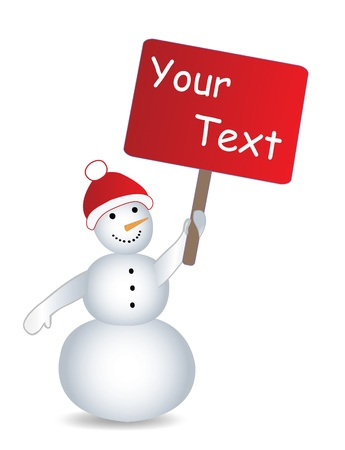 Snowmans with billboard and place for text