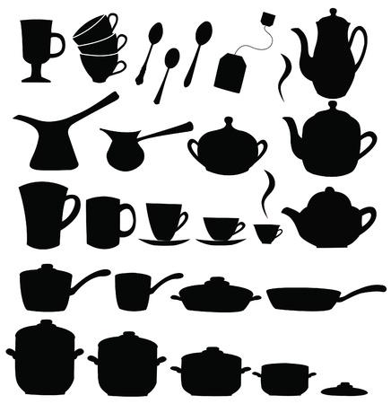 Tea, coffee ans pot sets  Ilustração