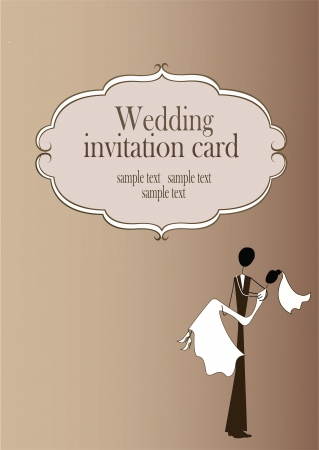 Vintage styled wedding card  Vector