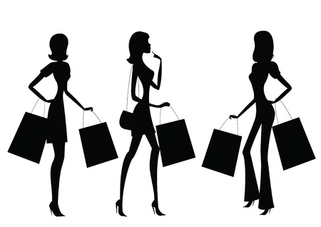 boutiques: women shopping  Illustration
