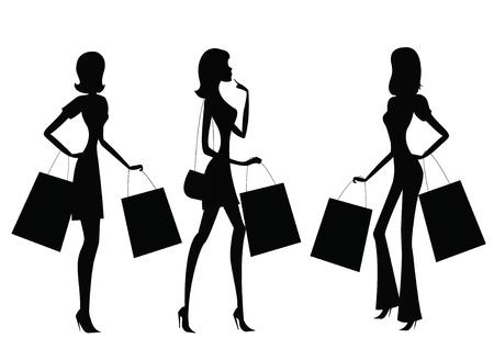 body bag: women shopping  Illustration