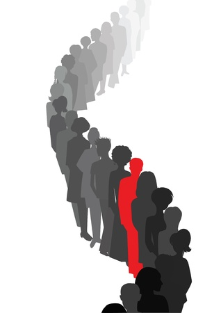 alone in crowd: Stand out in a queue  Illustration