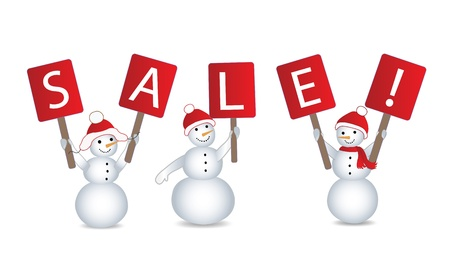 happy new year banner: snowmans with billboards and inscription SALE on them