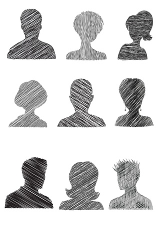 head and shoulder: Anonymous Mugshots with scribble effect