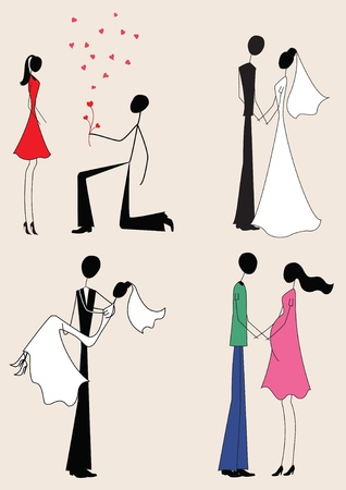 passion couple: Love story: offer, marriage, pregnancy  Illustration